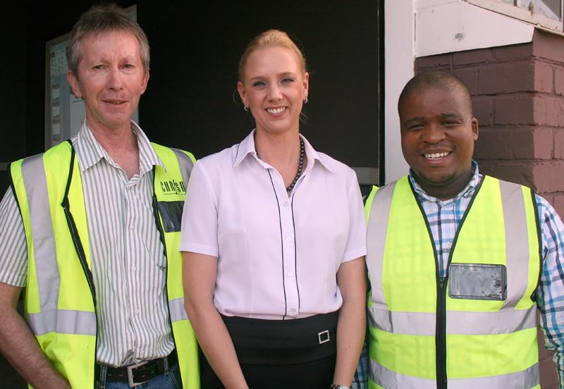 As part of a.b.e.  Construction Chemicals' annual Safety Day function which took place in Boksburg recently, three members of staff spoke about their job responsibilities and priorities for 2015. Pictured from left to right are: Warren Delaney (Technical Manager), Elrene Smuts (Communications Manager) and Laurence Mashiloane (Costing & Pricing Controller).