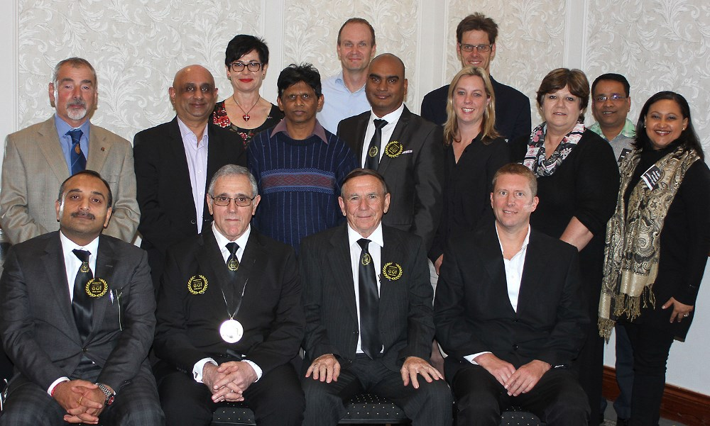 SAPMA's new executive committee, elected at the Association's recent 80th annual meeting, posed for a team photo. Pictured (from left) front row: Sanjeev Bhatt, vice-chairperson (Synthetic Polymers); Aggie Argyrou, chairperson (Warrior Paints); Terry Ashmore, outgoing chairperson (Honorary Member); and Shaun Benn, vice-chairperson (Dulux). Middle row: Danny Grady (OCCA), Jag Kayan (Ferro Coatings Resins), Salvan Govender (Medal Paints), Bobby Bhugwandin (Kansai Plascon), Madeleine du Toit (Prominent Paints), Lynn de Beer (Nampak Food Division), and Nadine Pretorius-Makan (Kansai Plascon). Back row: Tertia Kahts (Acti-Chem), Simon Stekoven (Duram Paints), Patrick Johnson (Stoncor), and Debajit Shome (Union Colours). Exco members absent at the AGM: Johan Joubert (Promac Paints), Willem van Heerden (Beckers Industrial Coatings), Philip Green (Mirmac), and Paul Hadjiapostolou (Rhine Ruhr).